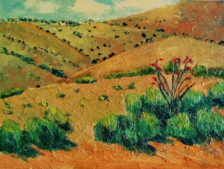 Framed Small Paintings, A jewel in the desert, desert landscape - Image 0