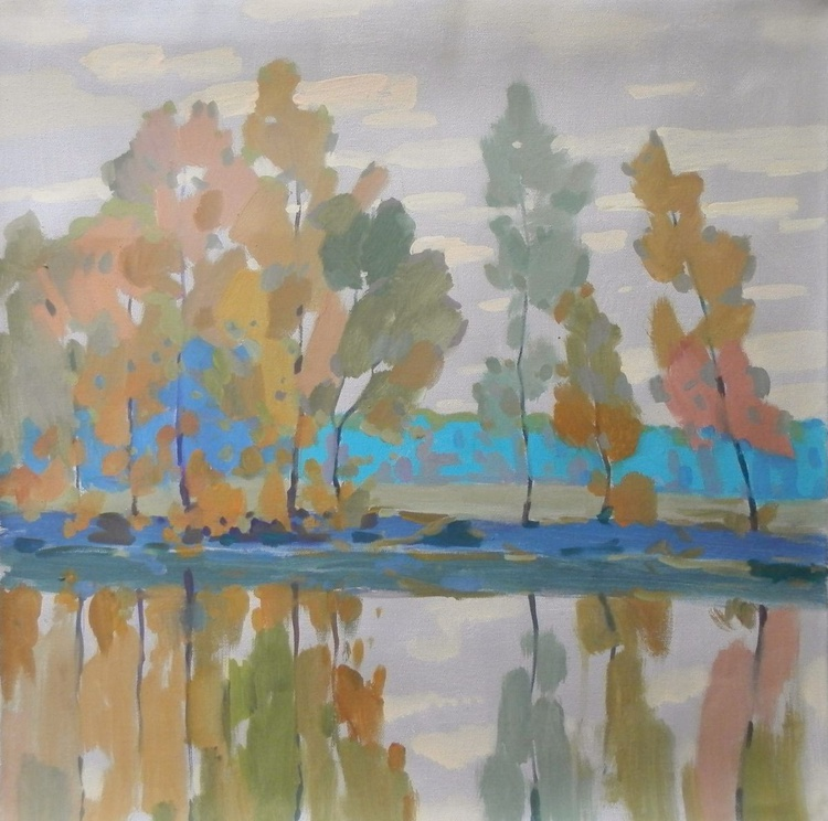 morning on the river, 50x50 cm - Image 0