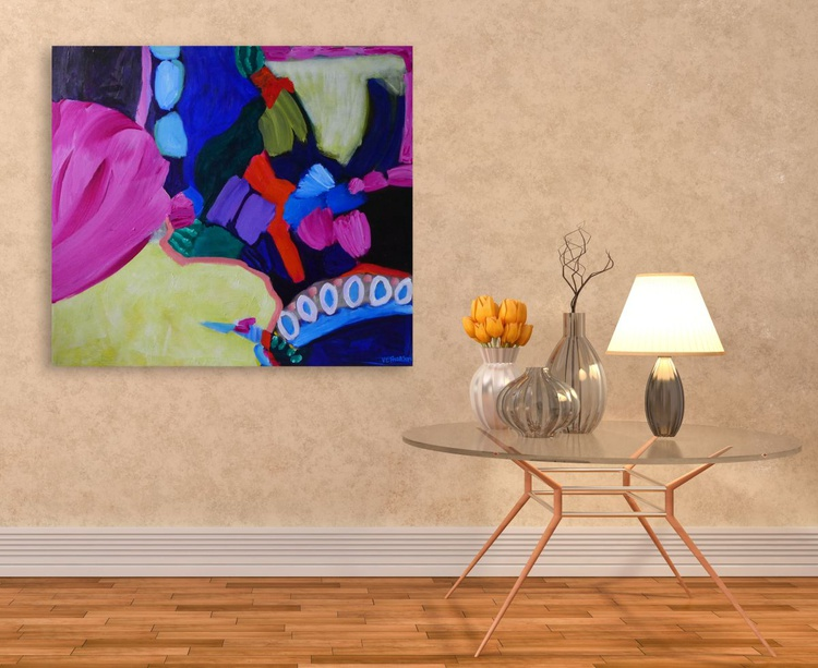 """Behind the Pink Tulips-  33 x 29""""/84 x 74cm - Image 0"""