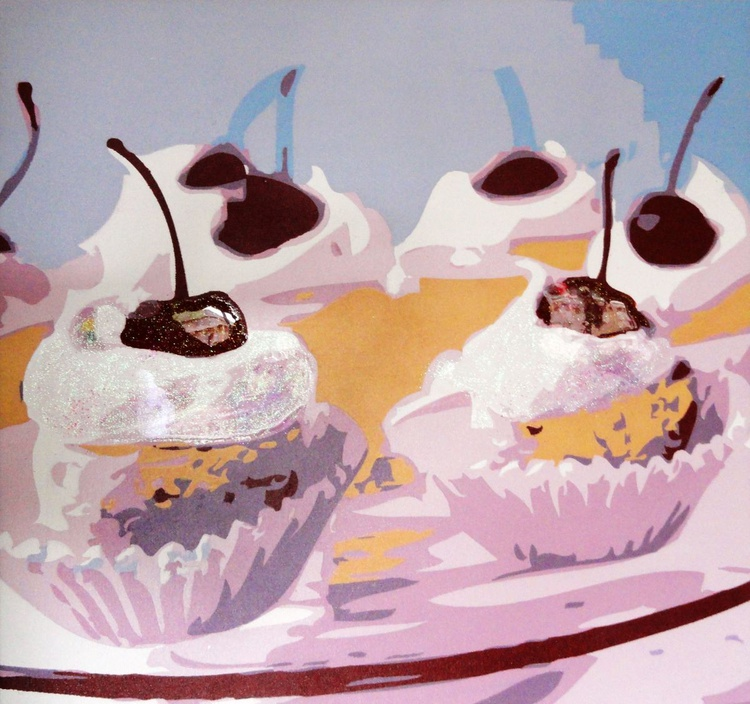 Six Cherry Cup Cakes - Image 0