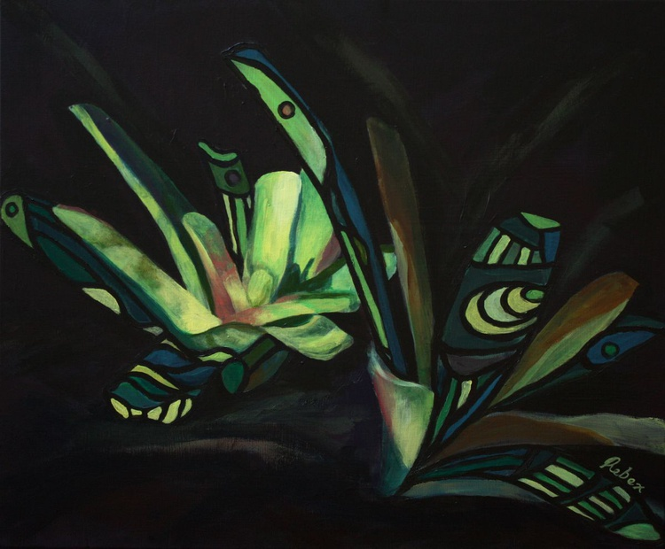 Bromeliad I (20 inches by 24 inches, 51 cm by 61 cm, ready to hang) - Image 0