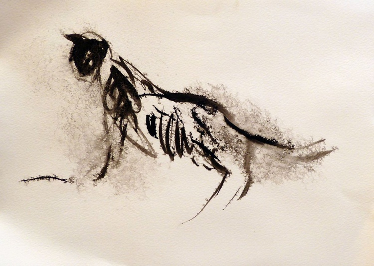 The Graceful Cat, ink drawing 29x42 cm - Image 0