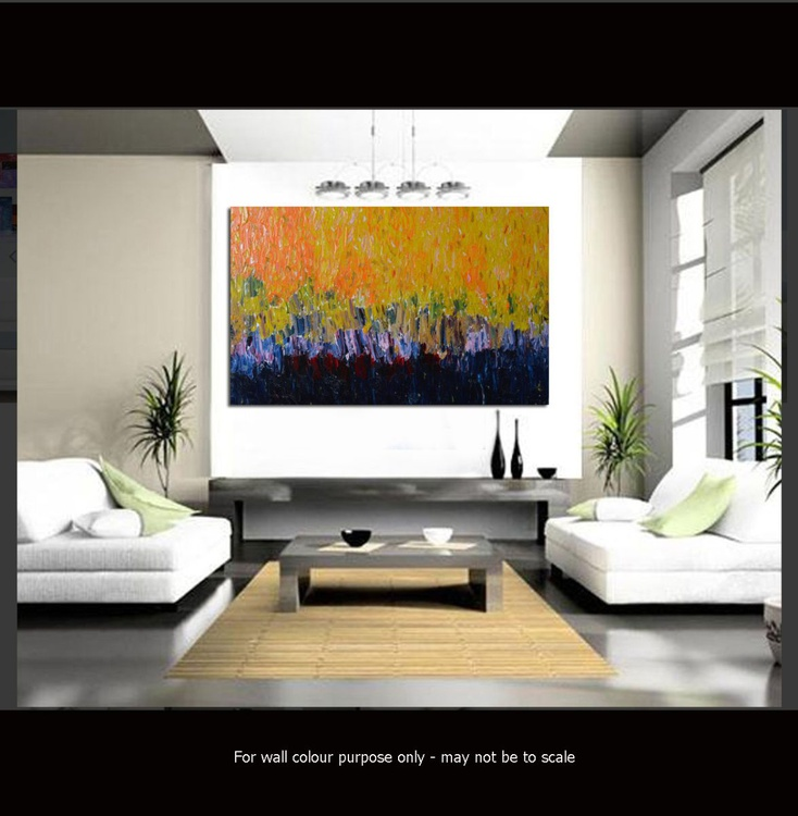 """Original Large Abstract Modern Art Oil Painting - Heavy texture- Palette knife - Michel Campeau - 24''x36"""" - Image 0"""