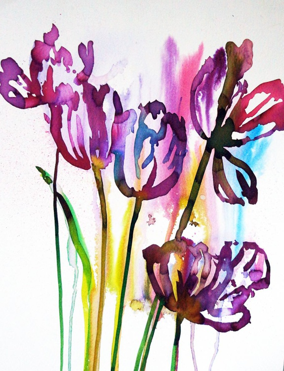 Tulips in watercolour - Image 0