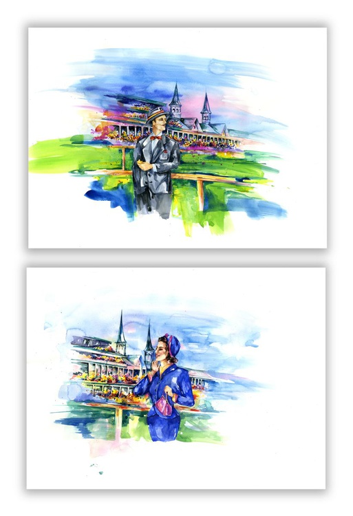 At The Races, Set of 2 Large Original Paintings by Kathy Morton Stanion EBSQ - Image 0