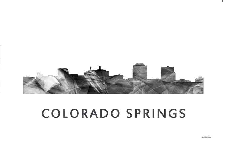 Colorado Springs Colorado Skyline WB BW -