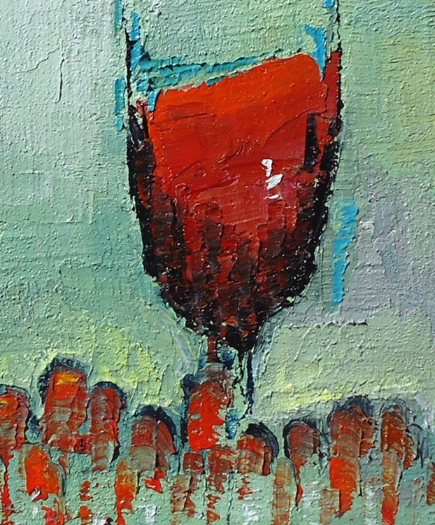 Still Life With Wine and Grapes (Red) - Image 0