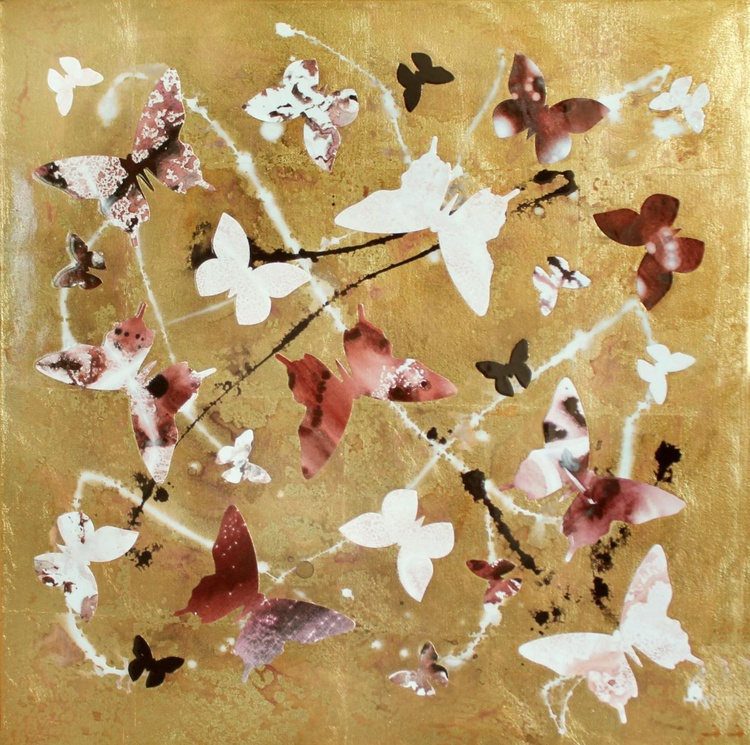 ABSTRACT/ Summer Romance II (butterfly collage, high gloss) - Image 0