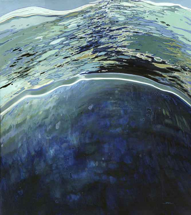 Deep Ocean Vast Sea, Original Painting on Canvas. Acrylic & Ink. -