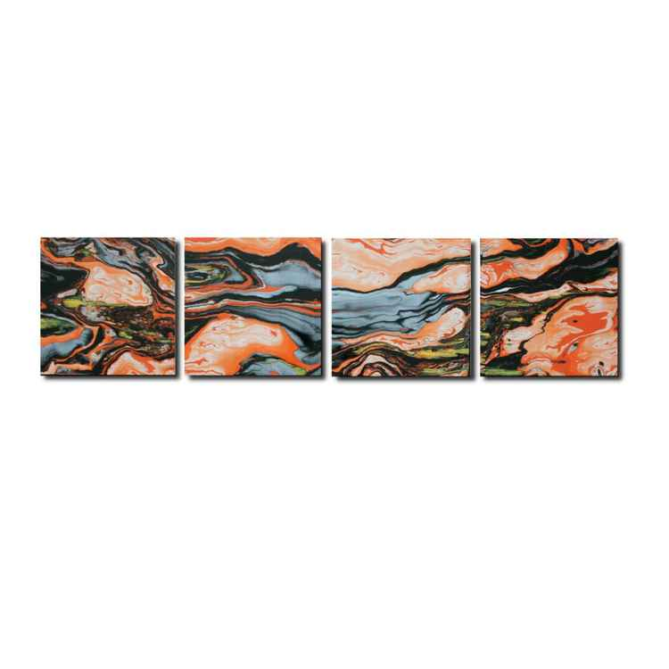 'Orange Yellow Black Lava' - Swirling Abstract Artwork Modern Metal Wall Art Contemporary Decor Dip-Painting -