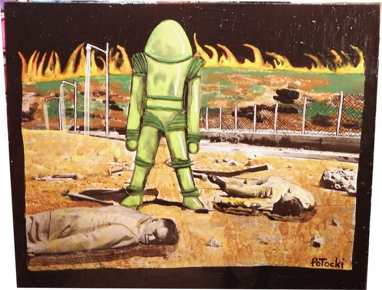 Robot Wins Original Watercolor & Acrylic Pop Art Painting - Image 0