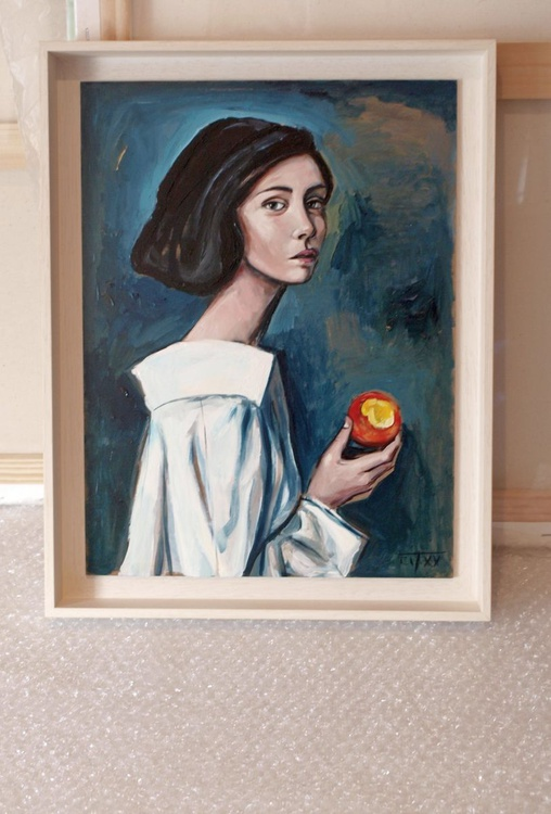 young woman eating a peach (IV) - Image 0