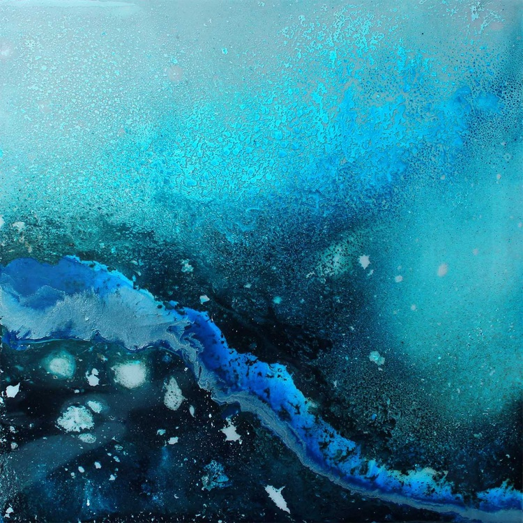 OCEANA I - Abstract Resin Seascape - Stunning Blues & Turquoise - Image 0