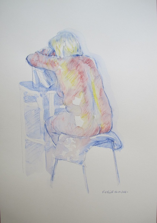 seated nude back view - Image 0