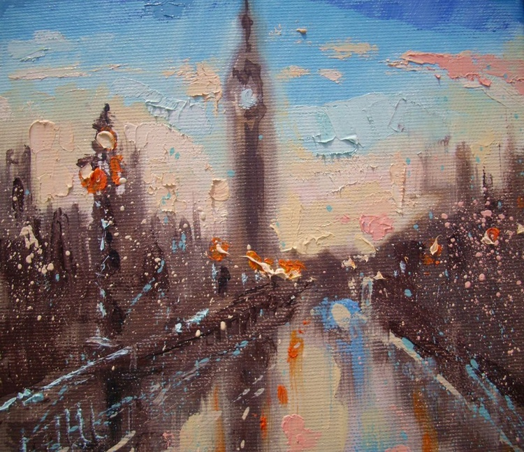 """ MORNING LONDON "" - original oil painting on canvas - Image 0"