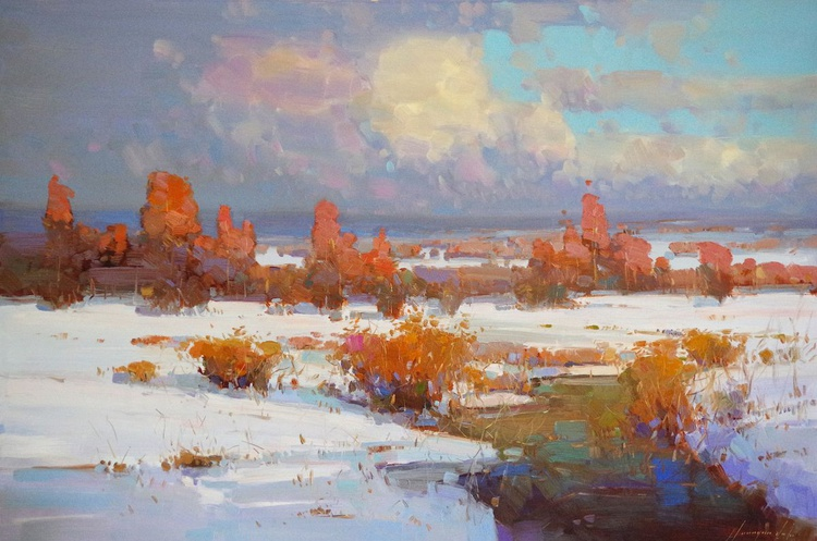 Landscape Large Size Oil painting, Winter, Spring, One of a kind, Signed with Certificate of Authenticity - Image 0