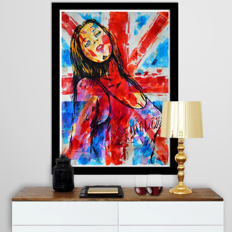 British Girl - Acrylic Abstract Art Painting On A1 Large Size Paper - Image 0