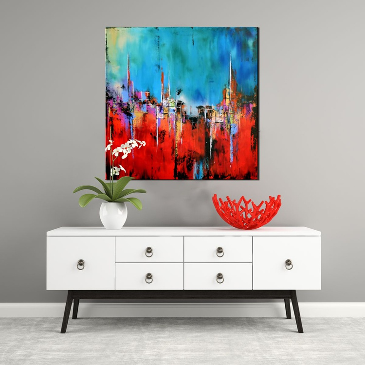 """Broken Path  36"""" Abstract Colorful Art Painting, Colorful Original Contemporary modern Blues,Reds, Orange, Pallete Knife - Image 0"""