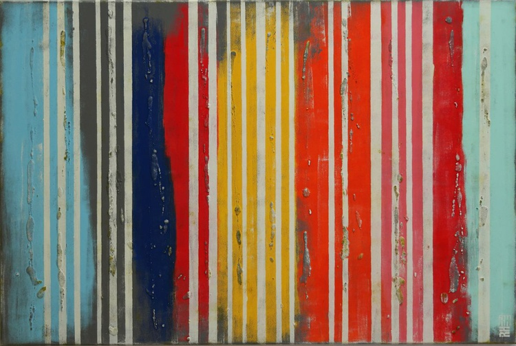 Abstract Painting - Vertical Color Lines - B43 - Image 0