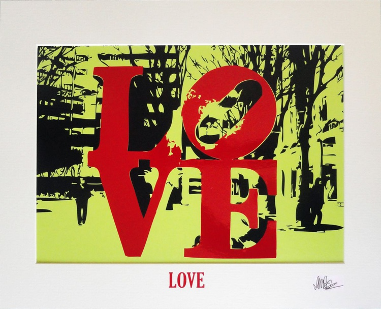 'LOVE' - Red on Lime Green - Image 0