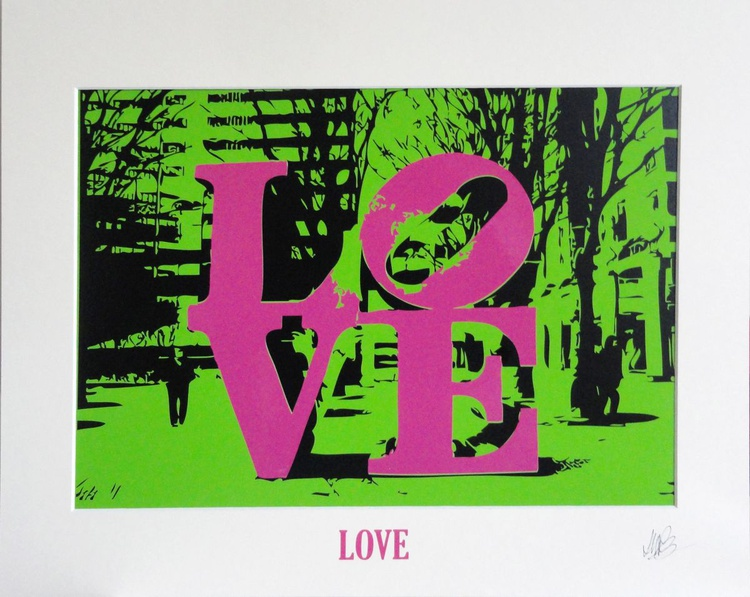 'LOVE' - Pink on Bright Green - Image 0
