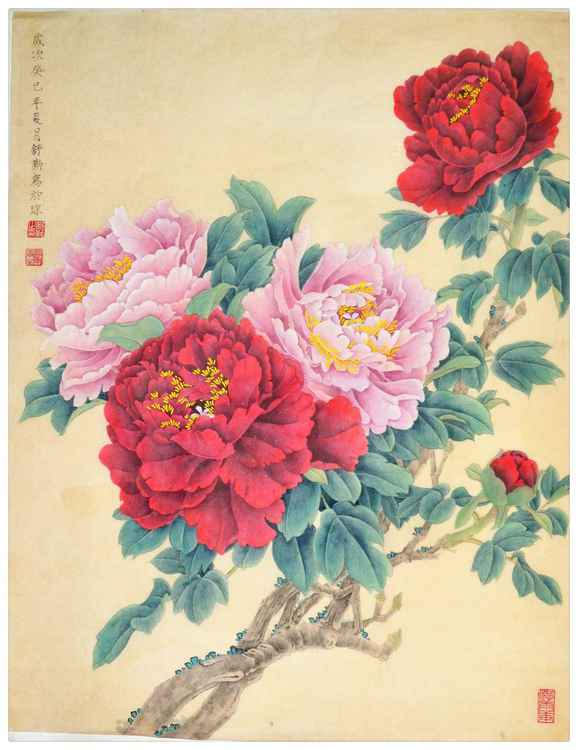 Original Chinese Gongbi Painting - Heavenly Fragrant Peony