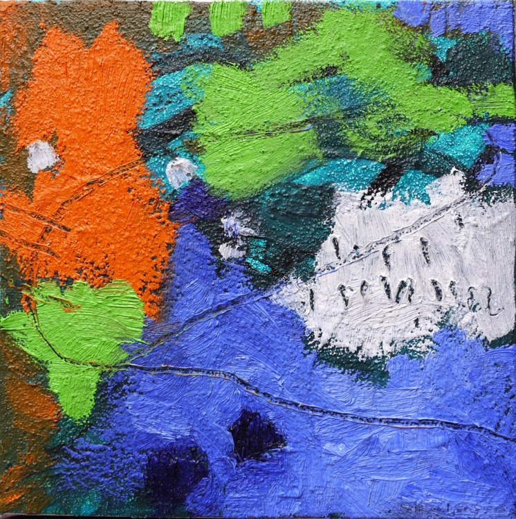 Lake View | small abstract oil painting | blue green orange - Image 0