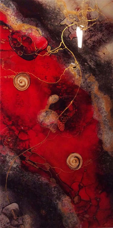 RED RIVER Abstract Resin Painting - Image 0