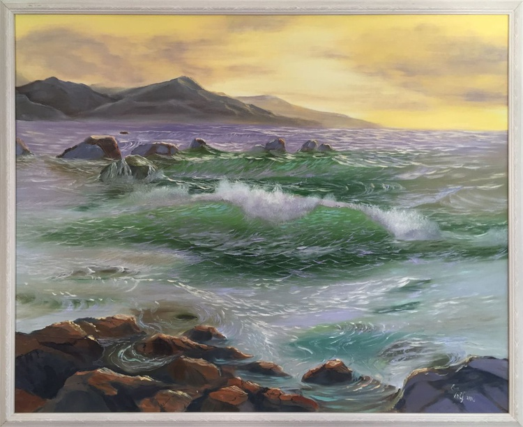 """""""The Ocean`s Tides"""" Large Framed Seascape Painting, Realistic Ocean Art, XL Oil Painting, Golden Sunset Sea Painting - Image 0"""
