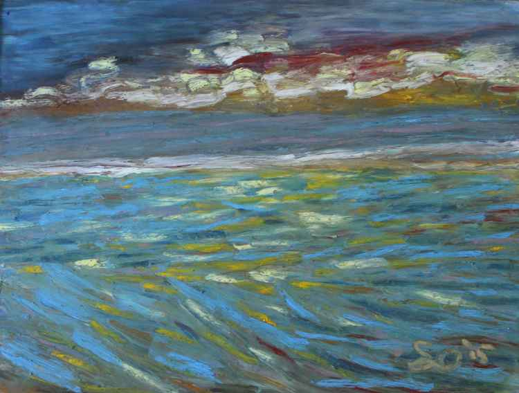 "Sunset and sea  9""x12"" (22.86x30.48cm) -"