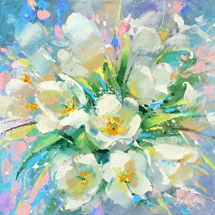 "White tulips - Original Oil acr. palette knife Painting, Size: 54cmx54cm, (21""x 21"") - Image 0"