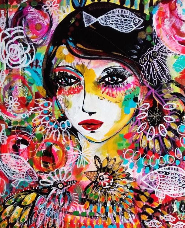 Portrait Woman Original Art - Original Painting Portrait Face Birds Nature - Fine Art - Portrait - Image 0