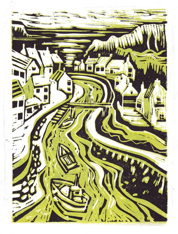 Staithes - two colour print (lime and black) - Image 0