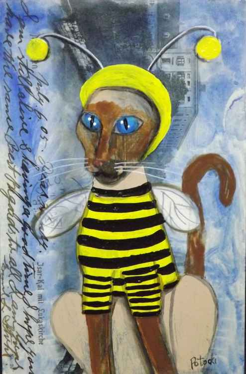Siamese Cat in a Bumblebee Costume- Cats of May Series -