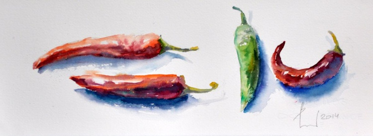 4 PEPPERS original watercolour 37x13 - Image 0
