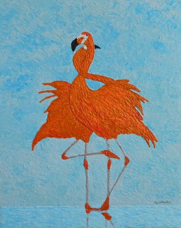 Tango - contemporary impressionist, flamingo dance, seascape, bold impasto texturized painting - Image 0