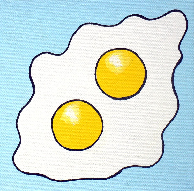Fried Egg Double Yolk Pop Art Painting On Miniature Canvas - Image 0