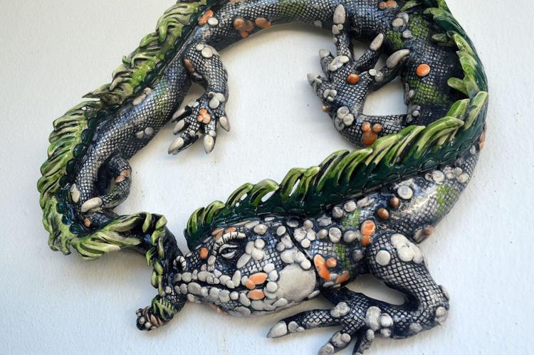 La iguana II - one of kind, ceramic of mexican clay. - Image 0
