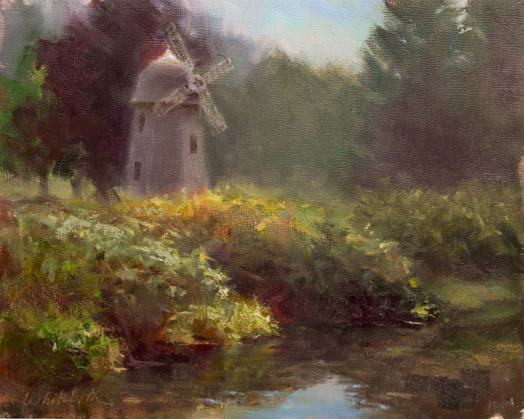 Marymoor Windmill and River en Plein Air - Image 0