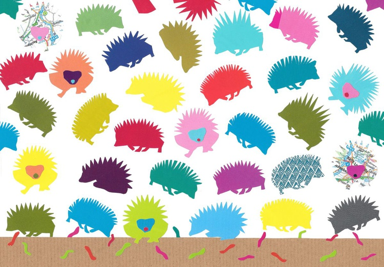 Hedgehogs looking for worms  (Hand-Cut Collage) - Image 0