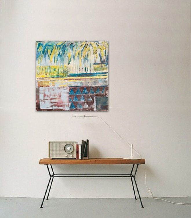 Canvas art 31,5/31,5 inches, 80/80cm. Blue island. - Image 0
