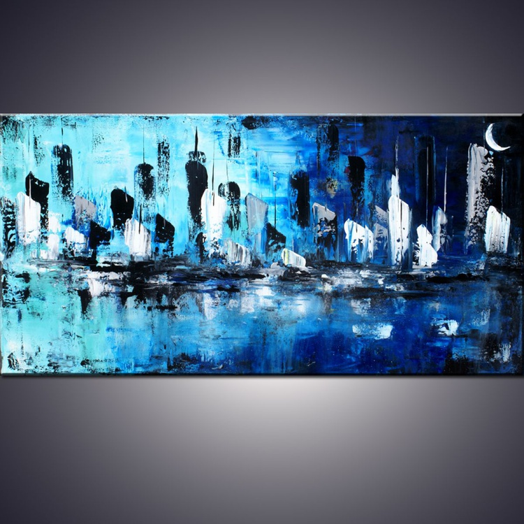 """""""City of Dreams"""" - 48"""" Large Abstract Blue Cityscape Painting, Art Painting Large blue cityscape modern abstract painting sofa knife art  - Image 0"""