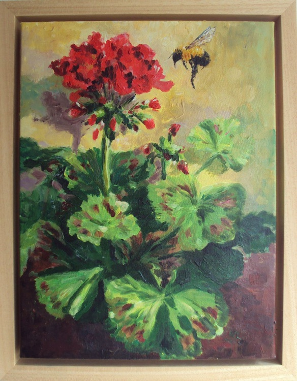 Red Geranium, Bumble Bee - Image 0