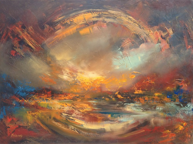 Circle of Life - 60 x 80 cm, abstract landscape oil painting, earth tone colours, circle, life - Image 0