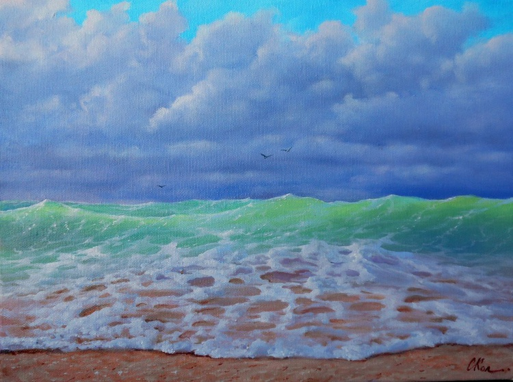 See Breeze, Original oil on canvas, Free Shipping - Image 0