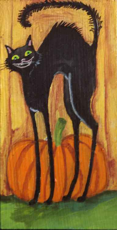 Black Cat Pumpkin BOO Halloween Original Painting on Wood -