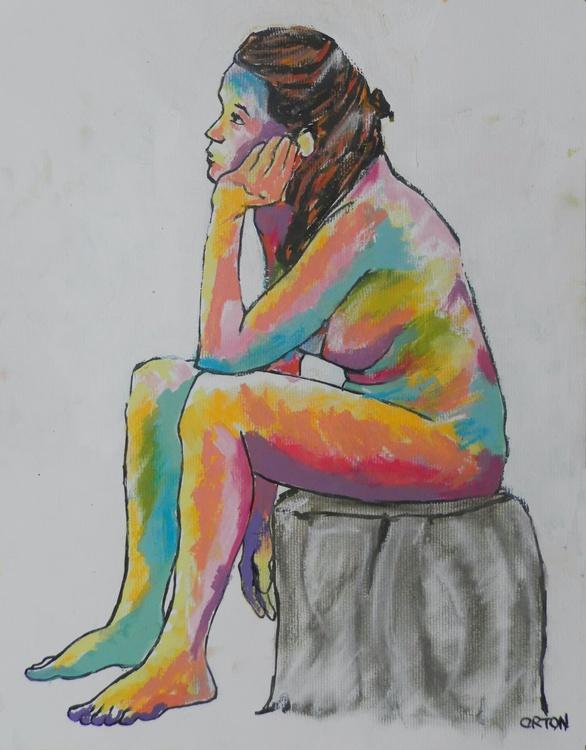 Female Nude Original Painting Seated Expressionist Acrylic Female Figure Study Life Drawing - Image 0