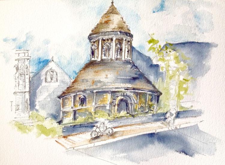 Round Church II Cambridge, Original Drawing - Image 0