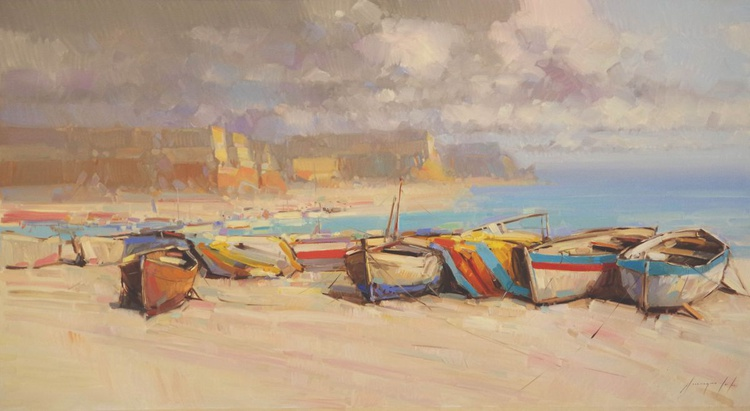 Rowboats on the Ocean Side Original oil painting  Handmade artwork One of a kind Signed with Certificate of Authenticity - Image 0