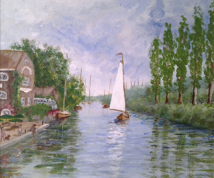"""""""SAILING TO THE QUAY"""", acrylic painting, 30.5x25.5cm - Image 0"""